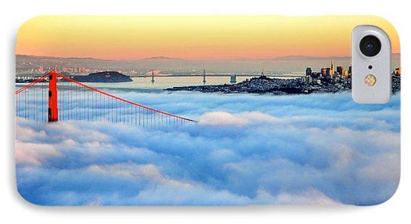 Golden Gate Bridge In Fog At Sunset IPhone Case