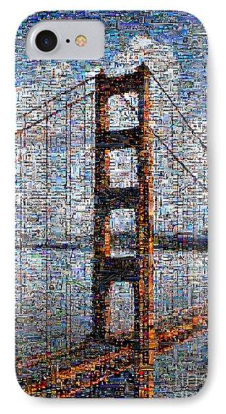 Golden Gate Bridge Mosaic IPhone Case by Wernher Krutein