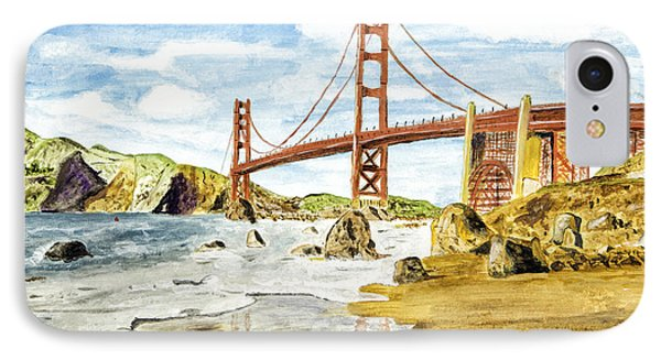 Golden Gate Painting IPhone Case by Timothy Hacker
