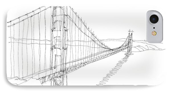 Golden Gate Sketch Phone Case by Calvin Durham