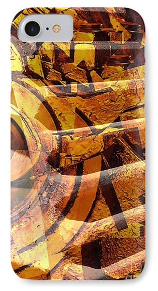 Golden Gears Abstract IPhone Case by Carol Groenen