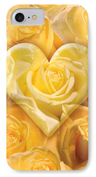 Golden Heart Of Roses Phone Case by Alixandra Mullins