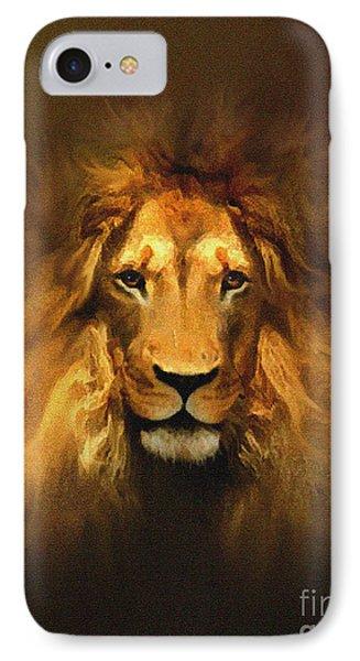 Golden King Lion IPhone Case by Robert Foster