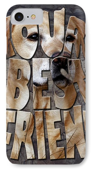 Golden Labrador Retriever Typography Art Phone Case by Georgeta Blanaru