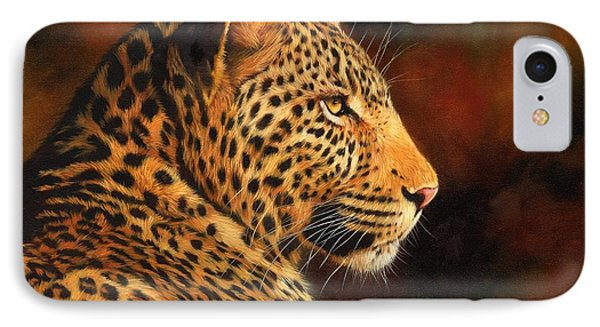 Golden Leopard IPhone Case by David Stribbling