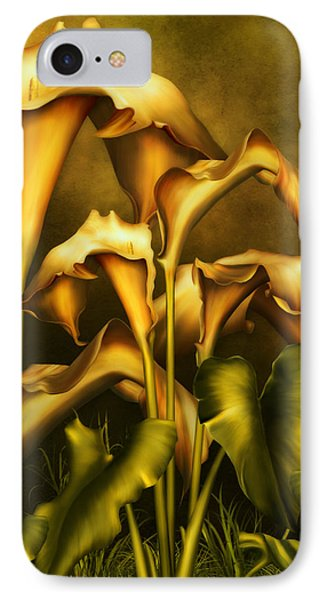 Golden Lilies By Night IPhone Case by Georgiana Romanovna