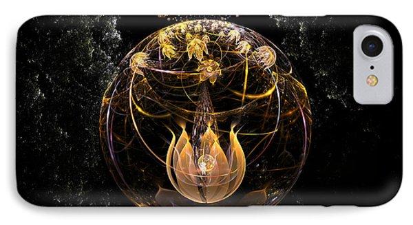 Golden Lotus In Deep Space Phone Case by Peter R Nicholls