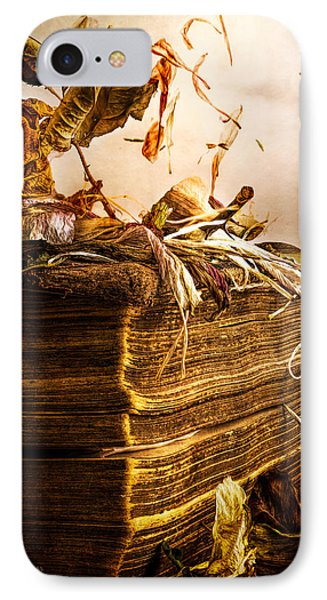 Golden Pages Falling Flowers Phone Case by Bob Orsillo
