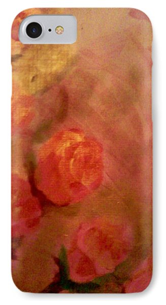 IPhone Case featuring the painting Golden Pink Roses by Christy Saunders Church