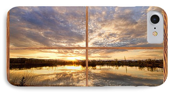 Golden Ponds Sunset Reflections  Barn Wood Picture Window View Phone Case by James BO  Insogna