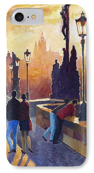 Golden Prague Charles Bridge IPhone Case