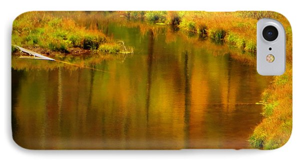 IPhone 7 Case featuring the photograph Golden Reflections by Karen Shackles