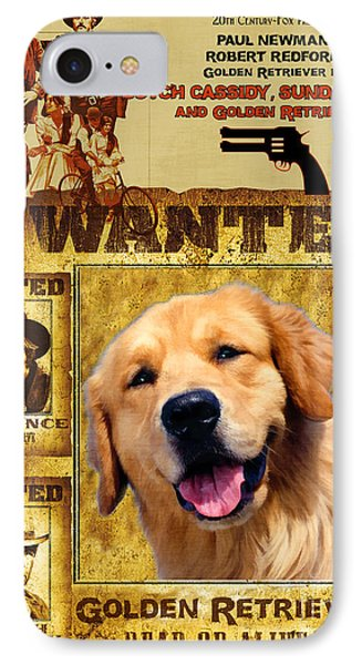 Golden Retriever Art Canvas Print - Butch Cassidy And The Sundance Kid Movie Poster IPhone Case by Sandra Sij