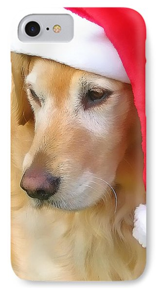 Golden Retriever Dog In Santa Hat  Phone Case by Jennie Marie Schell