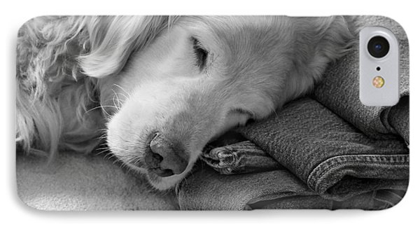 Golden Retriever Dog On Forever On Blue Jeans Black And White IPhone Case by Jennie Marie Schell