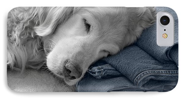 Golden Retriever Dog Forever On Blue Jeans Monochrome IPhone Case by Jennie Marie Schell