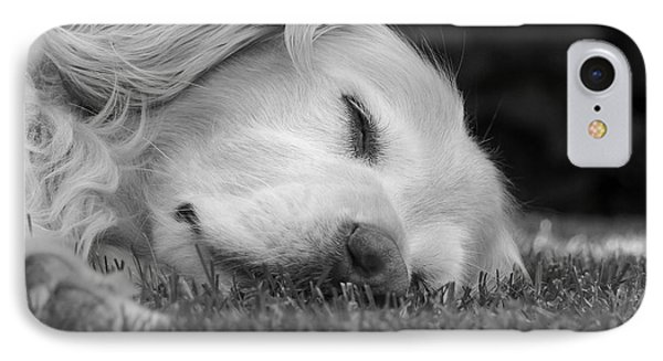 Golden Retriever Dog Sweet Dreams Black And White Phone Case by Jennie Marie Schell