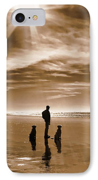 Golden Retriever Dogs End Of The Day Sepia Phone Case by Jennie Marie Schell