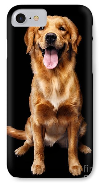 Golden Retriever On Black Background IPhone Case by Oleksiy Maksymenko