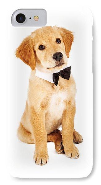 Golden Retriever Puppy Wearing Bow Tie Phone Case by Susan Schmitz