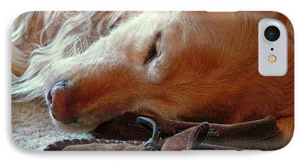 Golden Retriever Sleeping With Dad's Slippers Phone Case by Jennie Marie Schell