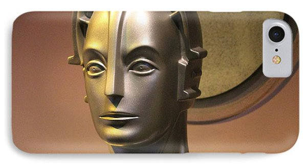 IPhone Case featuring the photograph Golden Robot Lady Closeup by Cynthia Snyder