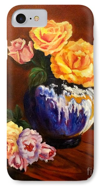 IPhone Case featuring the painting Golden Roses by Jenny Lee