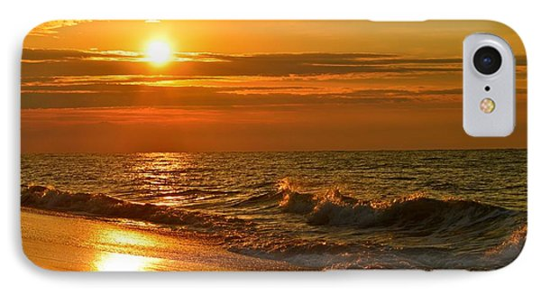 Golden Sunrise Colors With Waves And Horizon Clouds On Navarre Beach IPhone Case by Jeff at JSJ Photography