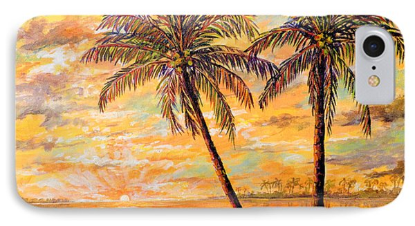 IPhone Case featuring the painting Golden Tropics by Lou Ann Bagnall