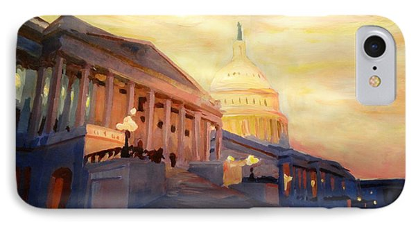 Golden United States Capitol In Washington D.c. Phone Case by M Bleichner