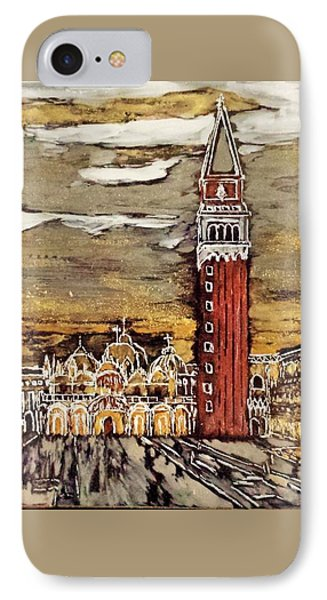 IPhone Case featuring the painting Golden Venice by Jasna Gopic