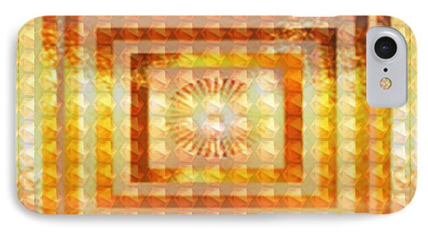 Golden Vintage Style Chakra Cosmic Tunnel Flowing Healing Energy Textures Patterns Background Design IPhone Case by Navin Joshi
