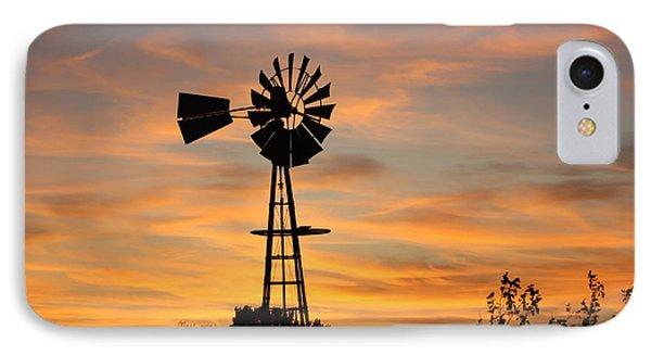 Golden Windmill Silhouette Phone Case by Robert D  Brozek