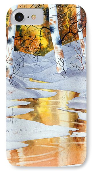 IPhone Case featuring the painting Golden Winter by Teresa Ascone