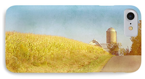 Golden Yellow Cornfield And Barn With Blue Sky IPhone Case by Brooke T Ryan