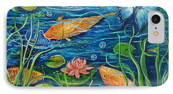 IPhone Case featuring the painting Goldfish And Butterfly by Yolanda Rodriguez