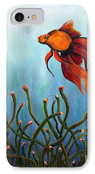 IPhone Case featuring the painting Goldfish by Jolanta Anna Karolska