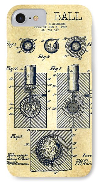 Golf Ball Patent Drawing From 1902 - Vintage IPhone Case by Aged Pixel