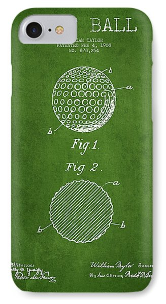 Golf Ball Patent Drawing From 1908 - Green IPhone Case by Aged Pixel