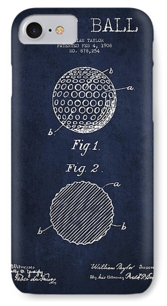 Golf Ball Patent Drawing From 1908 - Navy Blue IPhone Case by Aged Pixel