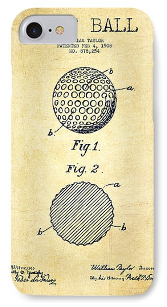 Golf Ball Patent Drawing From 1908 - Vintage IPhone Case by Aged Pixel