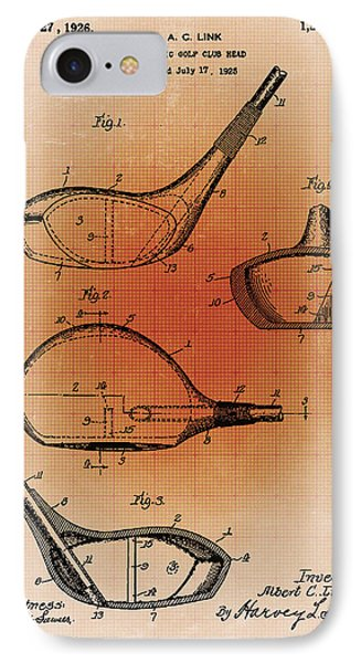 Golf Club Patent Blueprint Drawing Sepia IPhone Case by Tony Rubino