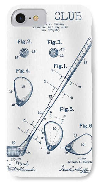 Golf Club Patent Drawing From 1910 - Blue Ink IPhone Case by Aged Pixel