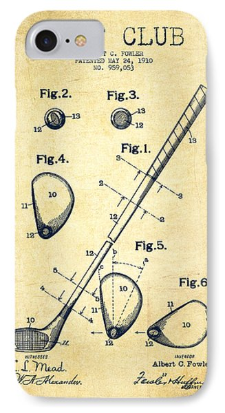 Golf iPhone 7 Case - Golf Club Patent Drawing From 1910 - Vintage by Aged Pixel