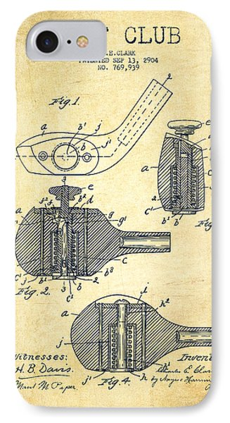 Golf Clubs Patent Drawing From 1904 - Vintage IPhone Case by Aged Pixel