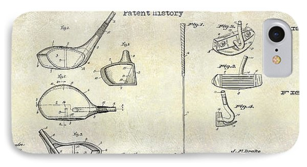 Golf Patent History Drawing IPhone Case by Jon Neidert