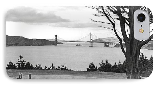 Golf With View Of Golden Gate IPhone Case by Ray Hassman