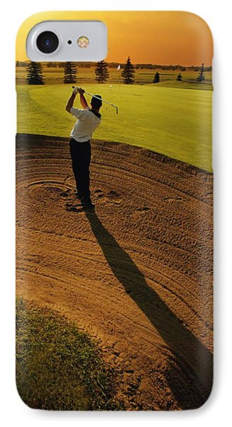 Golfer Taking A Swing From A Golf Bunker IPhone Case by Darren Greenwood