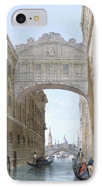 Gondolas Passing Under The Bridge Of Sighs IPhone Case by Giovanni Battista Cecchini