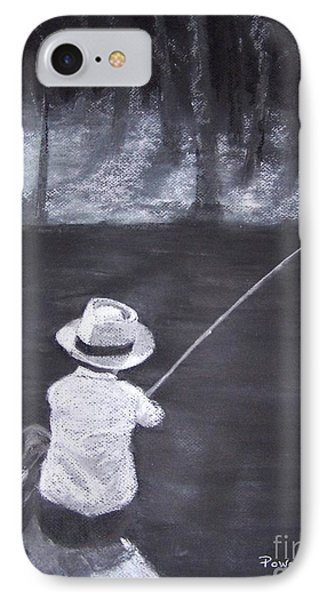 IPhone Case featuring the drawing Gone Fishin' by Mary Lynne Powers